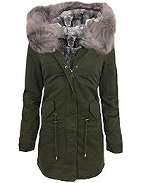 10b0ff23426613 ALZORA Damen Parka Winter Jacke XXL KUNSTFELL Kapuze Mantel WINTERMANTEL  Jacket…