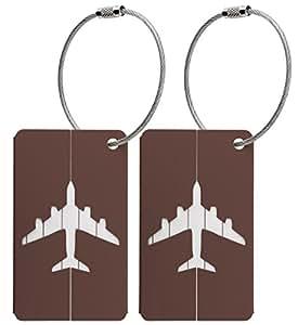 Kofferanhänger aus Metall mit Namensschild und Flug-Motiv 2 Stück – Braun metallic