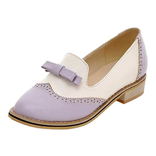 TAOFFEN Donna Moda Scivolare Su Scarpe Con Tacco Oxford Purple