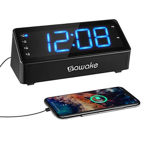 SAWAKE Digital Charging Radiowecker, FM AM Uhr Radio Wecker mit 5,7 Zoll LED-Anzeige | Dual-Wecker | USB-Ladeanschlüsse | Schlummerfunktion | Schlaf-Timer | 3-stufige Helligkeit | Batterie-Sicherung