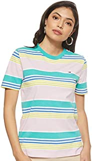 Tommy Jeans Women's TJW Summer Recycled Stripe T-Shirt, Green (Ceramic/Multi 904), S