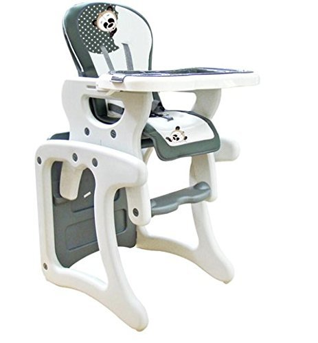 Trona para bebé convertible en mesa y silla, modelo panda gris. Trona o silla para niños. Regalo incluido...
