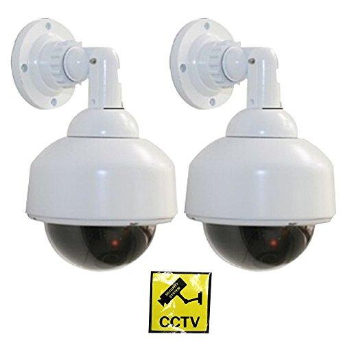 Cámara falsa simulada, WER Cámara de vigilancia falsa simulada CCTV/ Cámara de Seguridad Vigilancia Falsa/ Cámara fictícia con luz LED roja parpadeante Modelo Bola (2 PCS)