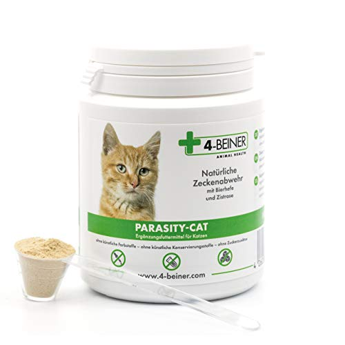 4-Beiner PARASITY-CAT - natürliche Zecken Abwehr, Zeckenschutz für Katzen mit Bierhefe und Zistrose, viele natürliche Vitamine & Mineralstoffe für Katzen, 90 g Pulver - 90 Tabletten Natürlich Vitamine