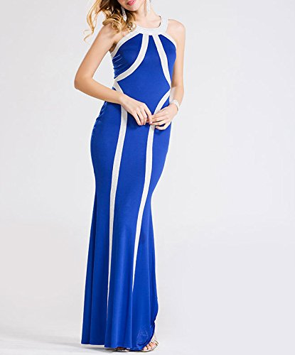Bigood Robe de Cocktail Soirée Femme Sans Manche Mariage Plage Rayure Mode Bleu