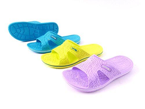 Damen Badeschuh Badeschlappen Badelatschen Strandschuhe - Flieder, Türkis und Lemon Größe 36-41 Lemon