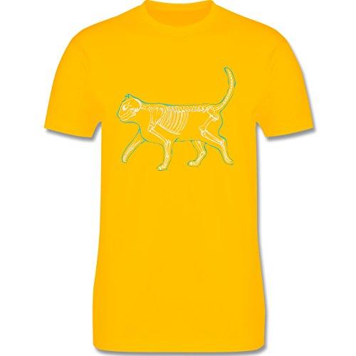 Shirtracer Katzen - Spooky Cat - Herren T-Shirt Rundhals Gelb