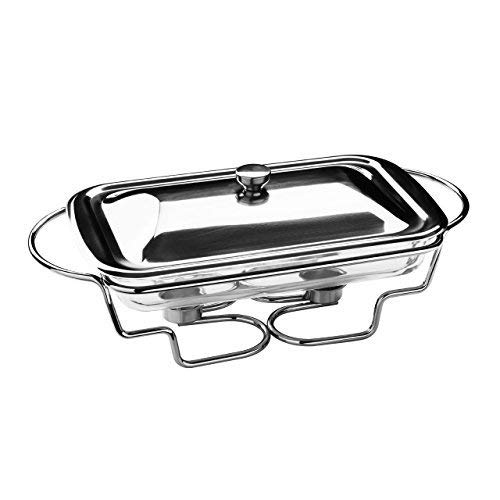 Premier Housewares - Calientaplatos Rectangular (2,2 litros, Acero Inoxidable, Fuente de Cristal)