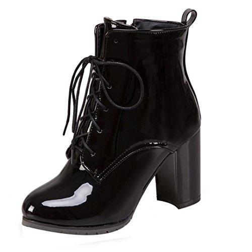 AIYOUMEI Damen Lack Stiefeletten mit 8cm Absatz Dicker Absatz Elegant Kurzschaft Stiefel