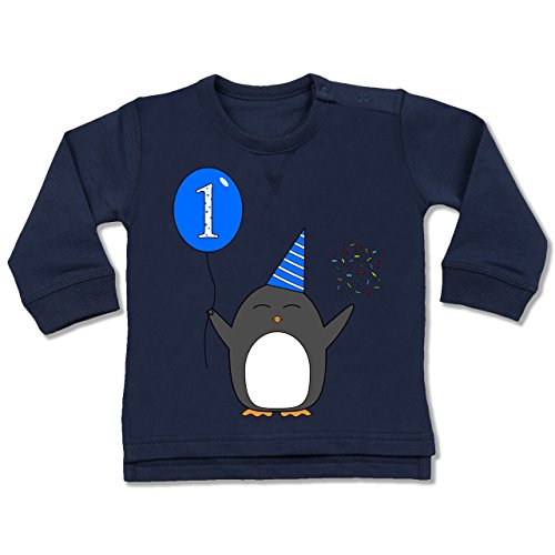 Geburtstag Geschenk für Babys - 1.Geburtstag - Baby - Blau - Pinguin - Ballon - Konfetti - 12-18 Monate - Navy Blau - BZ31 - - Baby Jungen Mädchen Sweatshirt Pullover (Geschenk-ballons)
