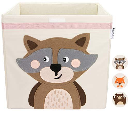 GLÜCKSWOLKE Kinder Aufbewahrungsbox I Spielzeugkiste mit Deckel und Griffe für Kinderzimmer I Spielzeug Box (33x33x33) zur Aufbewahrung im Kallax Regal I Waldtiere Motiv (Wanda Waschbär)