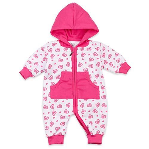Baby Sweets Overall Mädchen weiß pink | Motiv: Sweet Heart | Baby Jumpsuit mit Kapuze und Herzmotiv für Neugeborene & Kleinkinder | Größe: 6 Monate (68) ... - Großes Mädchen Kleidung