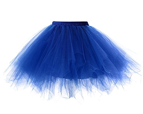 Kostüme Blasen (Mangotree Damen Retro Petticoat Kurz Rock Ballett Blase 50er Tüllrock Unterröcke 3 Layers Pettiskirt Unterkleid Tanzkleid)