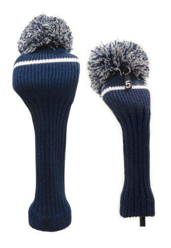 Classic Knit Spandex Pom Pom Golf Schlägerkopfhüllen für die Fahrer, Fairway Woods, Hybriden und Putter, navy