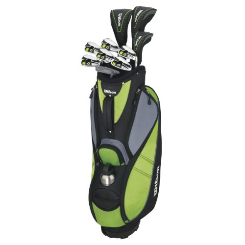 Wilson Anfänger-Komplettsatz, 10 Golfschläger mit Cartbag, Damen (rechte Hand) Profile VF, Schwarz/Grün, WGG157242