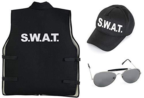 KarnevalsTeufel Kostüm - Set SWAT für Kinder | 3-TLG. SWAT-Weste, SWAT-Mütze und Sonnenbrille | Agent, Geheimermittler, Security, Polizei, FBI (152)
