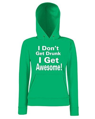 T-Shirtshock - Sweatshirt a capuche Femme TIR0070 i dont get drunk white tshirt Vert