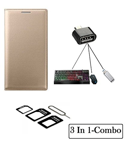 KTC Plus (3 in 1-Combo Offer )Golden Full Leather Flip Cover With Mini OTG Adapter and sim adapter For Lenovo K4 Note/Vibe K4 Note