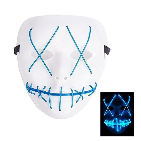 lzn leuchtet Maske led maske aus dem Purge Wahl Jahr Maske Fest Halloween Cosplay (Blau) (Purge-kostüme Für Halloween)