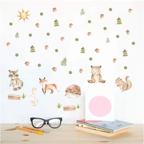 Cartoon Eichhörnchen Fuchs Wandaufkleber PVC Kinderzimmer Kiefer Kegel Vinyl Nordischen Stil Aufkleber Kindergarten Home Hintergrund Decor -