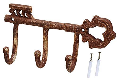 SouvNear llaves de pared de gancho–Placa rústico y envejecido óxido marrón Patina–hierro...