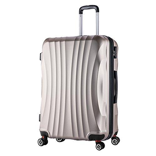 WOLTU RK4213ch-XL, Reise Koffer Trolley Hartschale 4 Rollen Volumen erweiterbar, Reisekoffer Hartschalenkoffer Handgepäck, M/L/XL/Set, leicht und günstig,...
