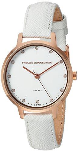 French Connection Men's-Orologio donna al quarzo con Display analogico e cinturino in pelle, FC1254WRG, colore: argento