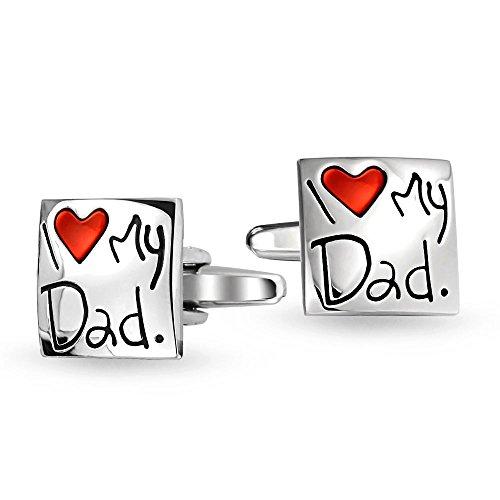 Bling Jewelry Ich Liebe Mein Vati Rotes Herz Manschettenknöpfe Für Herren T-Shirt Geschenk Für Vater Papa Stahl Messing Emaille