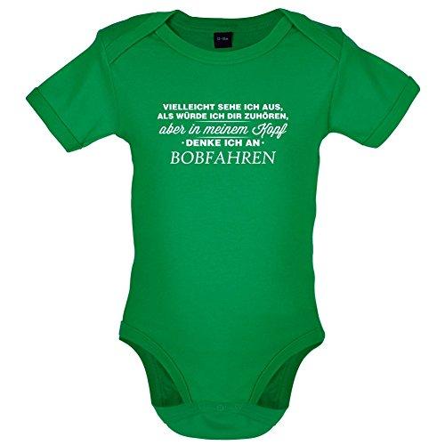 Vielleicht sehe ich aus als würde ich dir zuhören aber in meinem Kopf denke ich an Bobfahren - Lustiger Baby-Body - Leuchtend Grün - 6 bis 12 Monate