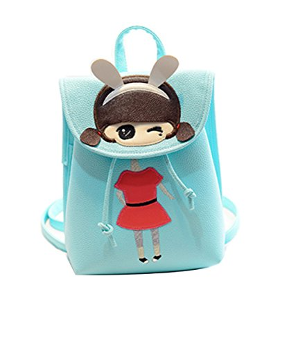 westeng 1pc Fashion Casual da donna in pelle PU Zaini Sweet Cute portatile zaino borse Blue-L