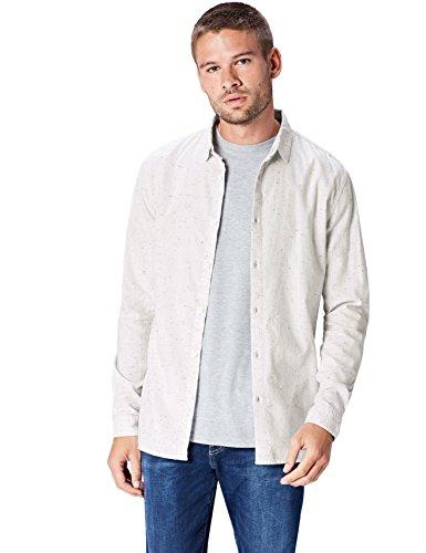 Find. camicia casual in cotone uomo, bianco (ecru), x-large