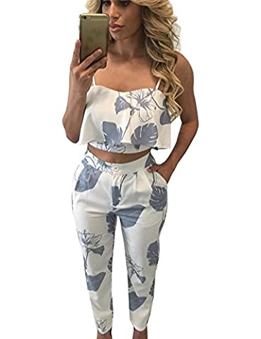 Fancyinn® Women 2 Piece Set Spaghetti Strap Crop Top +