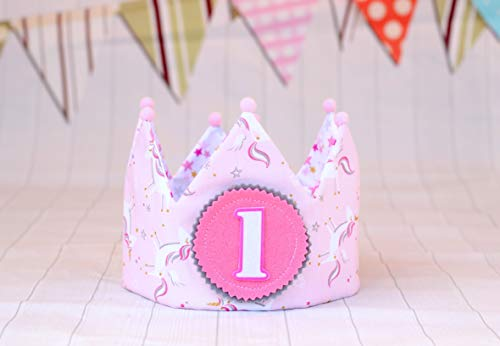 Corona de tela unicornios para cumpleaños niñas