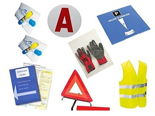 Kit auto sécurité jeune conducteur 8 pièces :1 constat d'accident + 2 éthylotests NF + 1 gilet jaune EN471 + 1 triangle de signalisation + 1 disque électrostatique «A» + 1 disque de stationnement + 1 solide paire de gants