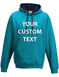 AWD Custom Printed Personalised Just Hoods Varsity Hoodie kids and adults CUSTOM text print Just Hoods Varsity Hoodie in GIFT BOX