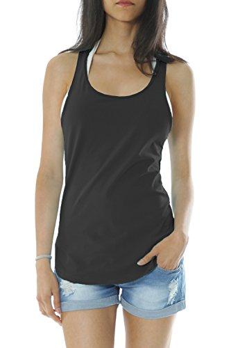 Bestyledberlin Damen Shirt, Tanktop t67kw Schwarz