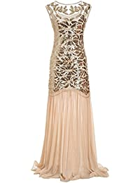 Ohlees® Womens 1920s Beaded Sequin Floral Maxi Long Gatsby Flapper Prom Fancy Dress