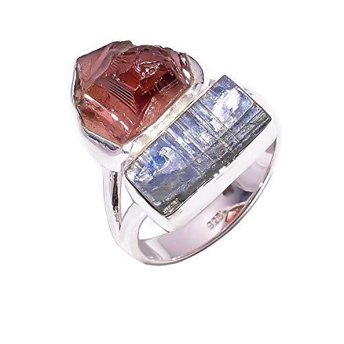 Lavie jewelz anello in argento sterling 925, granato grezzo naturale, pietra preziosa di cianite blu, rsr3015 e argento, 15,25, cod. rsr3015