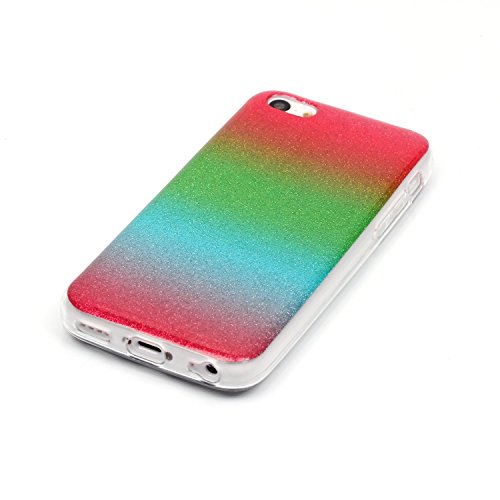 iPhone 5C Case,iPhone 5C Hülle - Felfy Apple iPhone 5C Ultra Slim Ultradünn Case Soft Gel Flexibel TPU Silikonhülle mit Bling Sternchen Gradient Farbe Design Protective Scratch Resistant Bumper Case B Rote Grün Blau Case