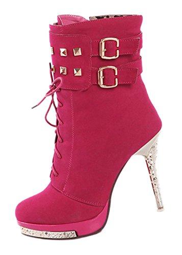 femmes Bottines - SODIAL(R)Bottines Sexy chaude de plate-forme Chaussures a talons hauts et fins rouge 36