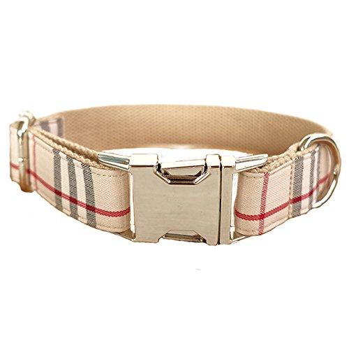 PENIVO Handgefertigte Kragen Modische Plaid, Hals 31cm -41cm W 2cm, verstellbare Hundehalsbänder mit Metall Gürtelschnalle für kleine mittlere große Hunde für Haustier -