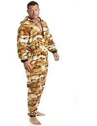 Combinaison pyjama en polaire - motif camouflage - homme - sable - taille S à XL