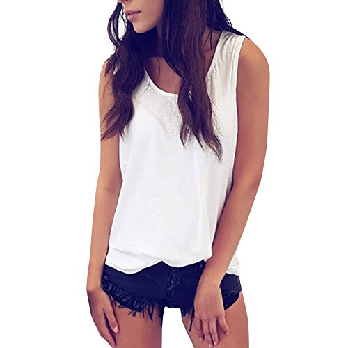 Damen Rückenfreies ärmelloses T-Shirt Weste Damen Sommer Lose Trägershirts Bluse