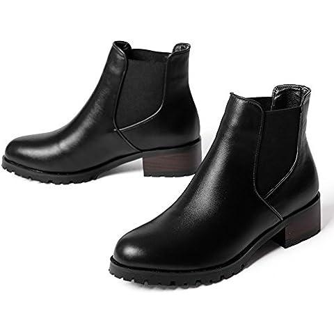 Basso in pelle stivali d'inverno/ elastico Chelsea boots/ British rotondo piatto stivali/ gli stivali da lavoro