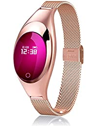 gouxia74534 Armband mit Chip-Armband, Unisex, Armband, Bluetooth, Blutdruckmessgerät, Herzfrequenzmesser, Schrittzähler, wasserdicht Gold