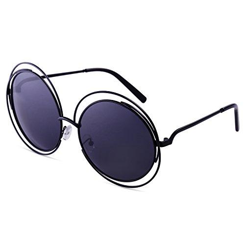 Dollger Damen Rund Übergroß Draht mit Rand Vollmetalle Sonnenbrille(Schwarz Linse+Schwarzrahmen)