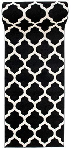cke Teppichläufer - Orientalisches Marokkanische - Flur Modern Designer Muster Meterware - Casablanca Kollektion von Carpeto - Schwarz Weiß - 70 x 200 cm ()