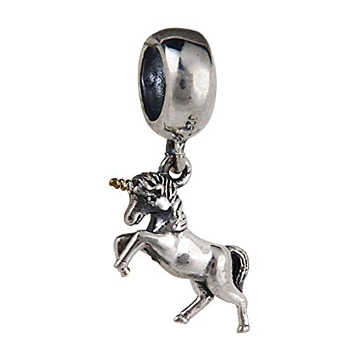 Soulbead Genuine 925 Sterling Silver Dangling Unicorn Bead for European Charm Bracelet Necklace