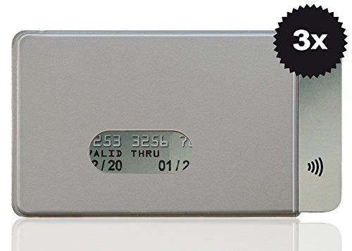 Optexx RFID Lot de 3 pochettes de protection RFID pour carte de crédit, carte EC, carte d'identité, en plastique dur, blocage des puces sans fil, Argenté