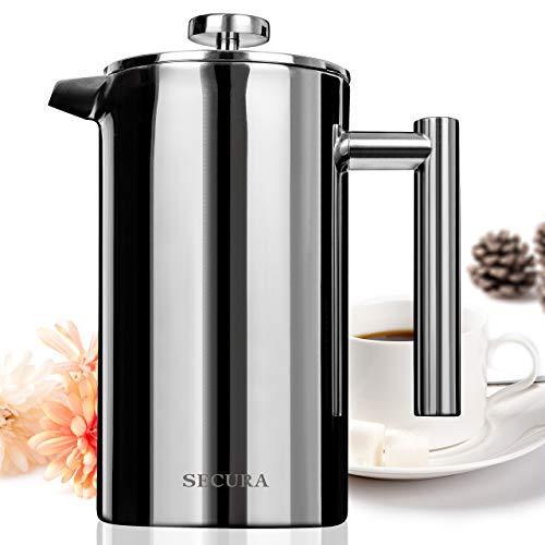 Secura Kaffeebereiter mit Edelstahlfilter, Kaffeekanne, French Press System Edelstahl Konstruktion